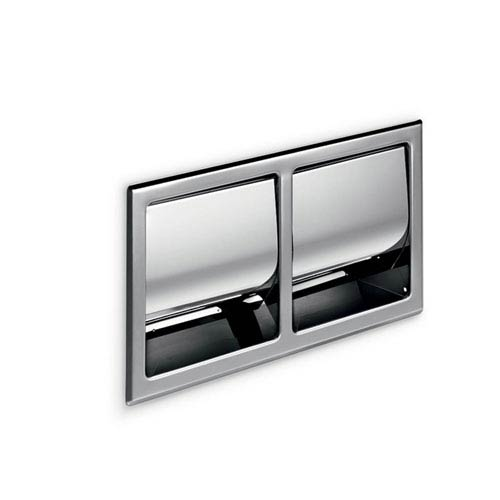 Hotellerie Built-in Double Toilet Paper Holder with Cover in Stainless Steel