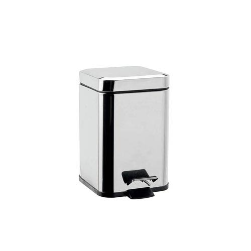 WS Bath Collections Hotellerie Aluminum Pedal Waste Basket in Polished Chrome