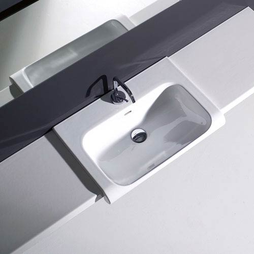 WS Bath Collections Kerasan White Bathroom Sink with One Hole Faucet - Sink Only