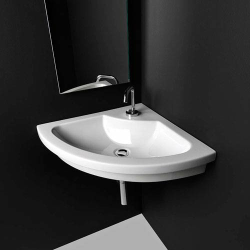 WS Bath Collections Kart Wall Mounted / Vessel / Drop-in Bathroom Sink in Ceramic White