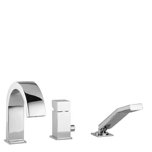 WS Bath Collections Fonte Level Polished Chrome Three-Hole Deck Mount Tub Faucet with Pull-Out Hand Shower
