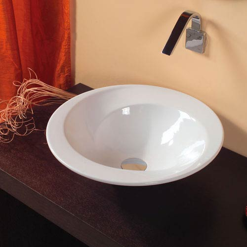WS Bath Collections Ceramica Valdama White Bathroom Vessel Sink