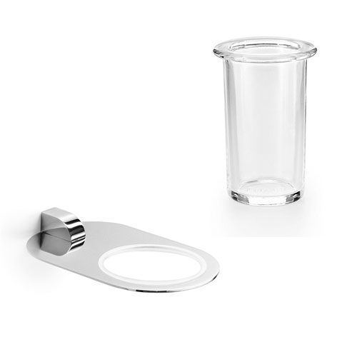 Muci Chrome Wall Mounted Holder with Clear Glass Tumbler