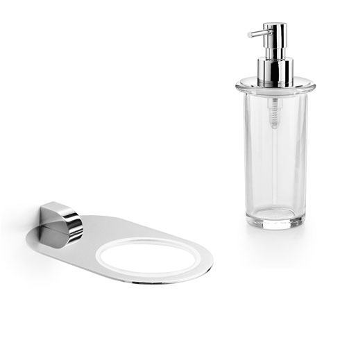 WS Bath Collections Muci Chrome Wall Mounted Holder with Clear Glass Soap Dispenser
