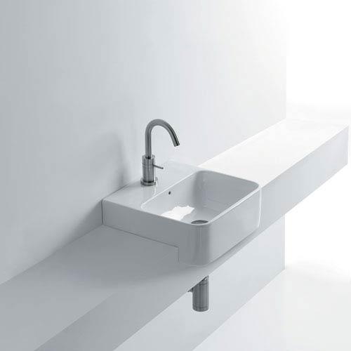 WS Bath Collections Semi-recessed Bathroom Sink