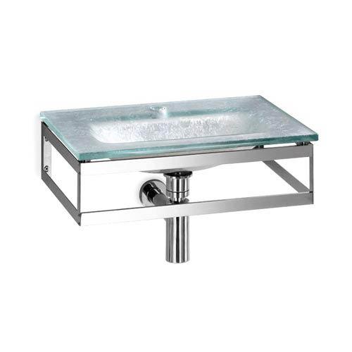 Linea Glass Silver Leaf Large Wall Mounted Bath Sink