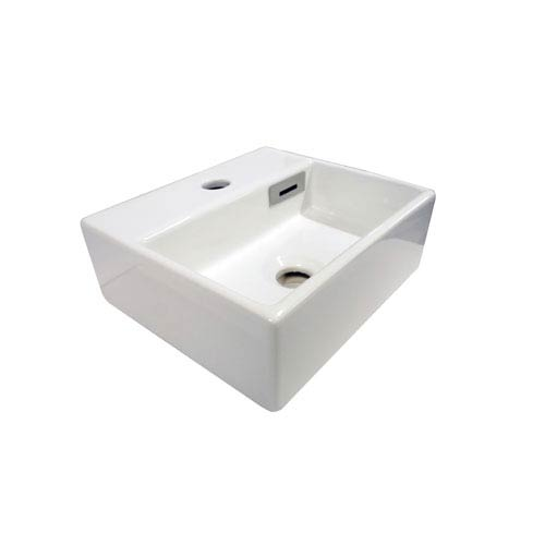 WS Bath Collections Linea White Bathroom Countertop Sink with One Hole Faucet
