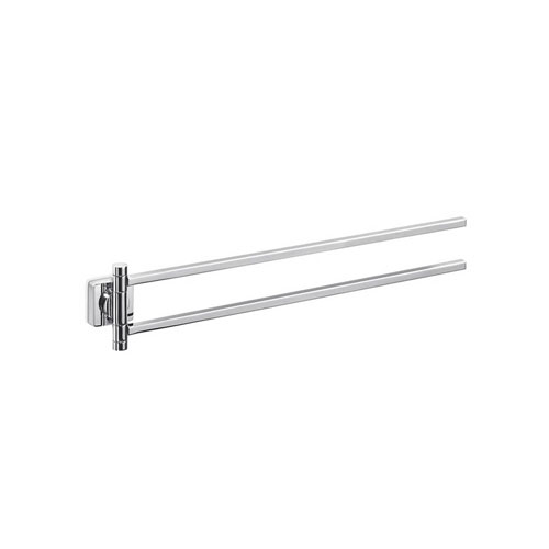 WS Bath Collections Quadro Double Swing Towel Bar in Polished Chrome