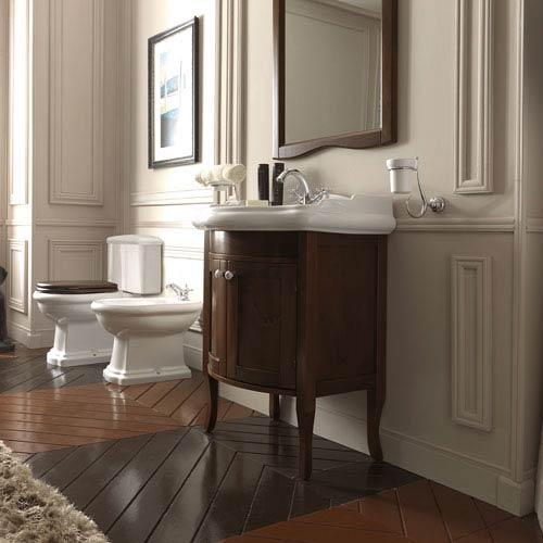 WS Bath Collections Kerasan White And Walnut Bathroom Vanity