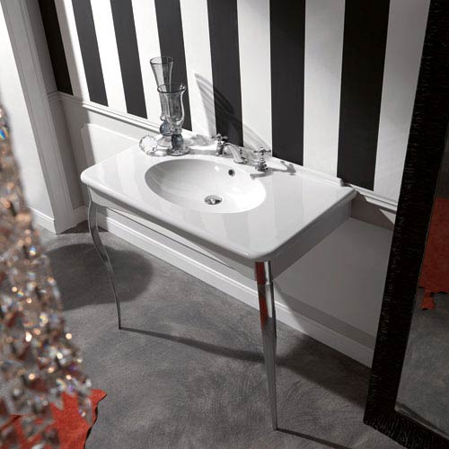 Kerasan White and Chrome Bathroom Sink with One Hole Faucet  - Sink Only