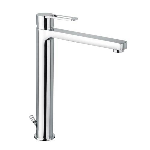 WS Bath Collections Fonte Ringo Polished Chrome High Spout Single Hole Bath Faucet