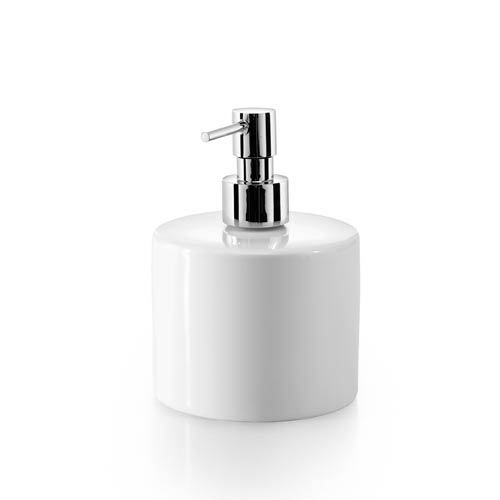 WS Bath Collections Complements Saon Porcelain White Short Soap Dispenser