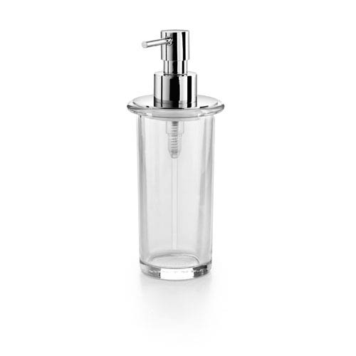Saon Polished Chrome and Clear Glass Bathroom Soap Dispenser
