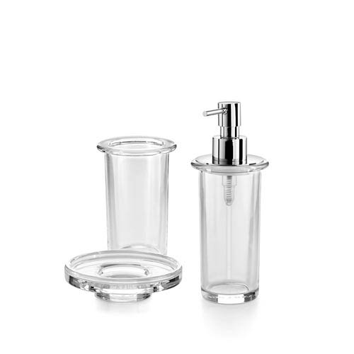 Complements Clear Glass Set of Tumbler, Soap Dish, and Soap Dispenser