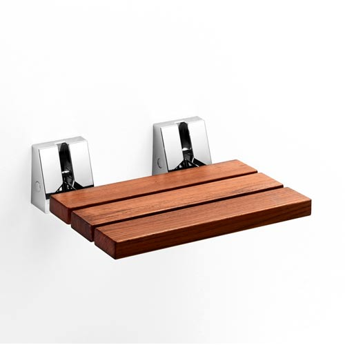 Complements Natural Teak/Polished Chrome Shower Refolding Seat