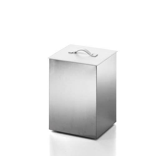 WS Bath Collections Complements Stainless Steel/Lid White Leather  Waste/Paper Basket