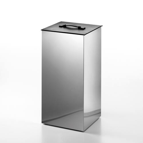 Complements Stainless Steel Small Laundry Basket with Black Leather Lid