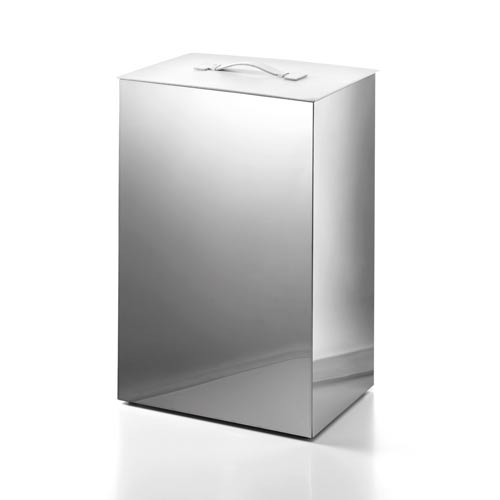 Complements Stainless Steel Large Laundry Basket with White Leather Lid