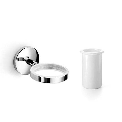 WS Bath Collections Spritz Polished Chrome and Ceramic White Bathroom Accessories