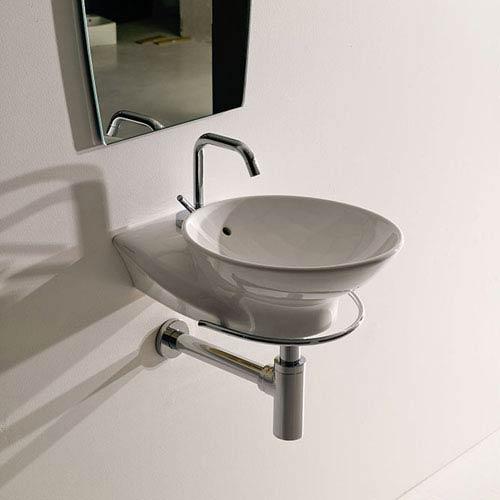 WS Bath Collections Kerasan White Bathroom Wall Hung Sink