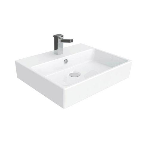 Simple Wall Mounted / Vessel Bathroom Sink in Ceramic White
