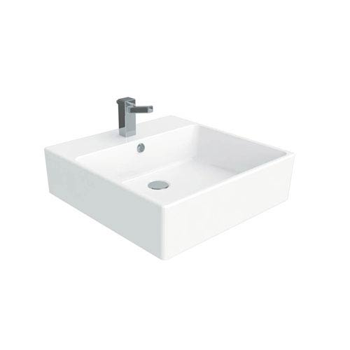 simple wall mounted vessel bathroom sink in ceramic white - Wall Mounted Bathroom Sink