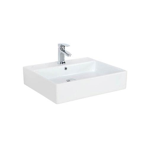 Simple Wall Mounted Vessel Bathroom Sink In Ceramic White