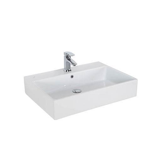 Simple Wall Mounted / Vessel Bathroom Sink in Ceramic White
