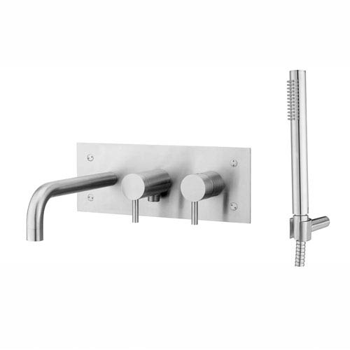 Steel Bath/Shower Mixer with Hand Shower in Stainless Steel
