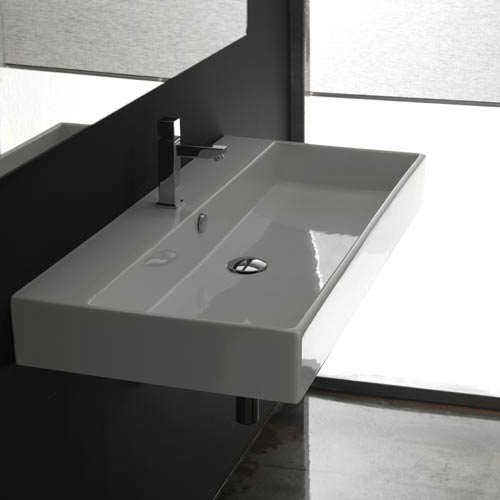 WS Bath Collections Unlimited 100 White Wall Mount or Countertop Bathroom Sink