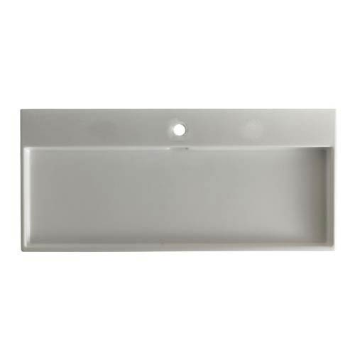 Urban 100 White Wall Mount or Countertop Bathroom Sink w/ Single Faucet Hole