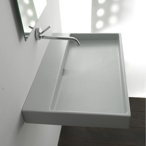 WS Bath Collections Urban 100 White Wall Mount or Countertop Bathroom Sink without Faucet Hole