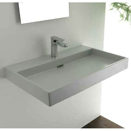 ws bath collections urban 70 white wall mount or countertop bathroom sink - Wall Mount Bathroom Sink