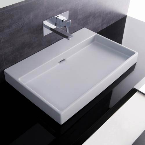 Ws Bath Collections Urban 70 White Wall Mount Or Countertop Bathroom Sink Without Faucet Hole