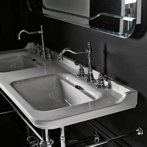 WS Bath Collections Waldorf Wall Mounted Bathroom Sink In Ceramic White