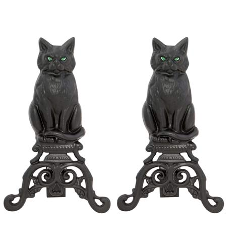 Cat Cast Iron Andirons