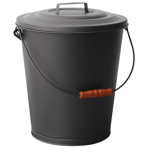 Black 14-Inch High Ash Bin with Lid