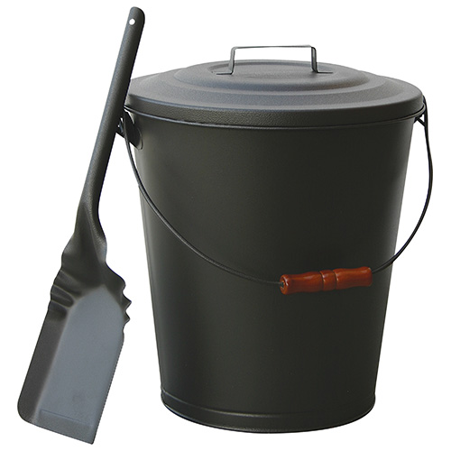 Olde World Black Ash Bin with Lid and Shovel