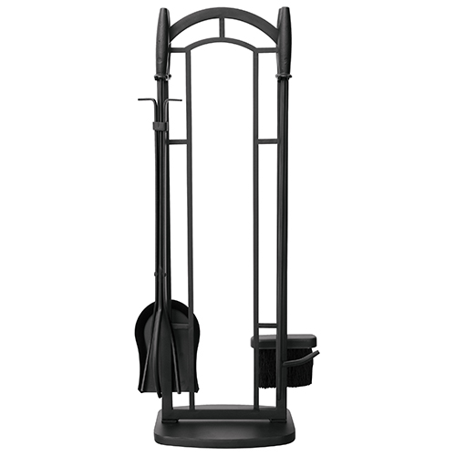 Black 31-Inch High Five-Piece Fireset with Cylinder Handles