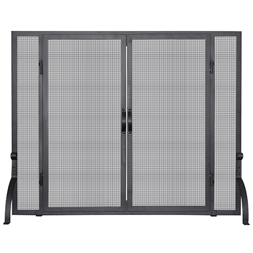 Black 31-Inch High Single Panel Screen with Doors