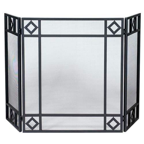 Three Fold Wrought Iron Fireplace Screen