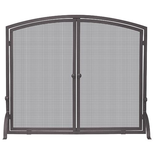 Bronze Arched Single Panel Screen with Doors