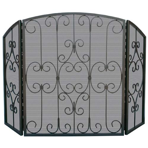 Three Fold Graphite Fireplace Screen With Decorative Scrollwork