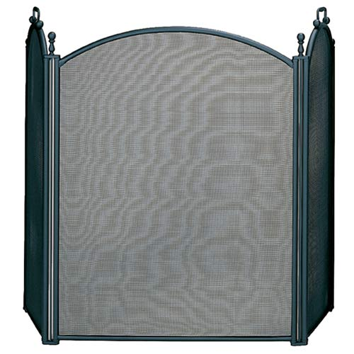 Blue Rhino Three Fold Large Black Fireplace Screen With Woven Mesh