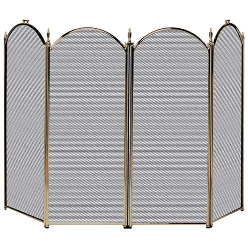 Four Fold Antique Brass Fireplace Screen