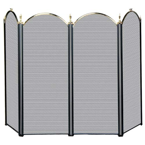 Four Fold Polished Brass and Black Fireplace Screen