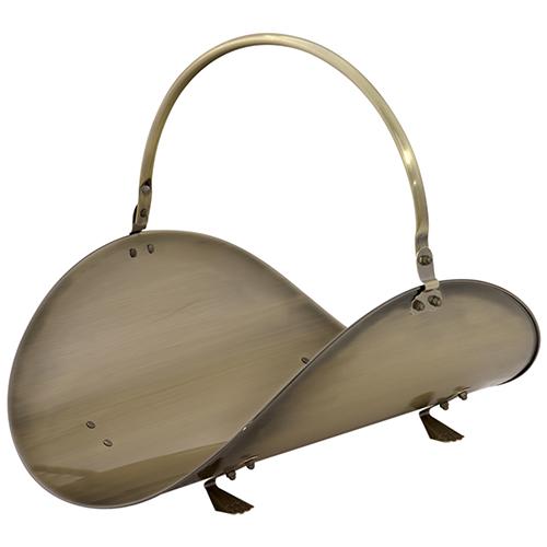 Antique Brass 19-Inch Wood Basket