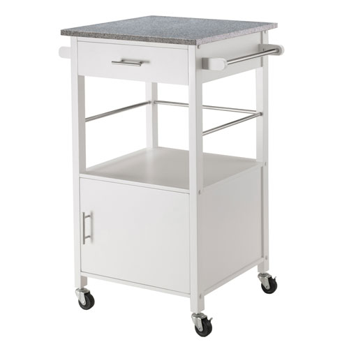Davenport Kitchen Cart with Granite Top White