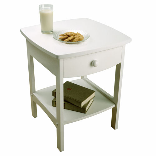 Winsome Wood Curved White Wooden Night Stand