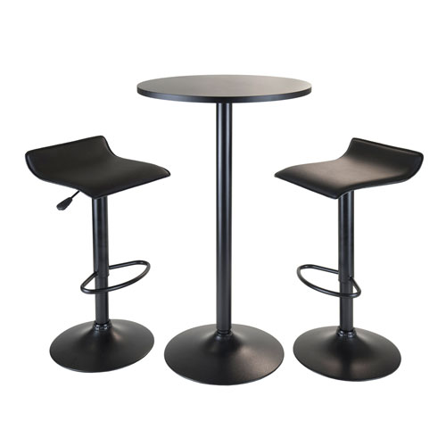 Obsidian 3Piece Pub Set, Round Table with 2 Airlift Stools All Black